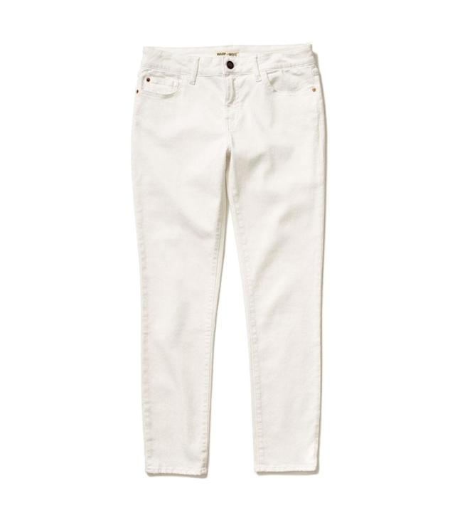 "<p>JFK Skinny Jeans in White, $98,<a href=""https://www.bloomingdales.com/shop/product/warp-weft-jfk-skinny-jeans-in-white?ID=2569307"" rel=""nofollow noopener"" target=""_blank"" data-ylk=""slk:bloomingdales.com"" class=""link rapid-noclick-resp""> bloomingdales.com</a> </p>"