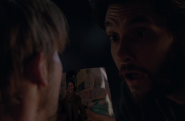 Logan shows William a picture of his fiancee in Episode 9 of 'Westworld' (Photo: HBO)