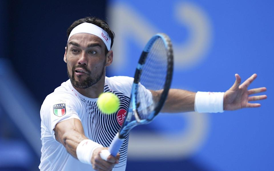 Fabio Fognini of Italy in action against Daniil Medvedev of the Russian Olympic Committee - Getty Images