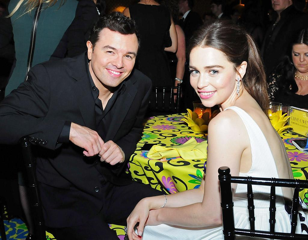 LOS ANGELES, CA - SEPTEMBER 23: Producer Seth MacFarlane and actress Emilia Clarke attend HBO's Official Emmy After Party at The Plaza at the Pacific Design Center on September 23, 2012 in Los Angeles, California.  (Photo by FilmMagic/FilmMagic)
