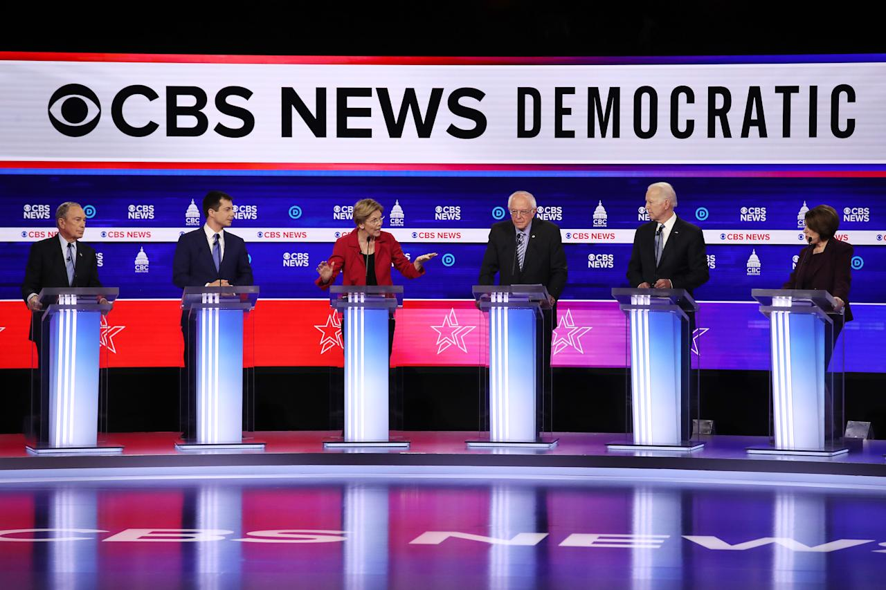 CHARLESTON, SOUTH CAROLINA - FEBRUARY 25: Democratic presidential candidates (L-R) former New York City Mayor Mike Bloomberg, former South Bend, Indiana Mayor Pete Buttigieg, Sen. Elizabeth Warren (D-MA), Sen. Bernie Sanders (I-VT), former Vice President Joe Biden and Sen. Amy Klobuchar (D-MN) participate in the Democratic presidential primary debate at the Charleston Gaillard Center on February 25, 2020 in Charleston, South Carolina. Seven candidates qualified for the debate, hosted by CBS News and Congressional Black Caucus Institute, ahead of South Carolina's primary in four days.  (Photo by Win McNamee/Getty Images)