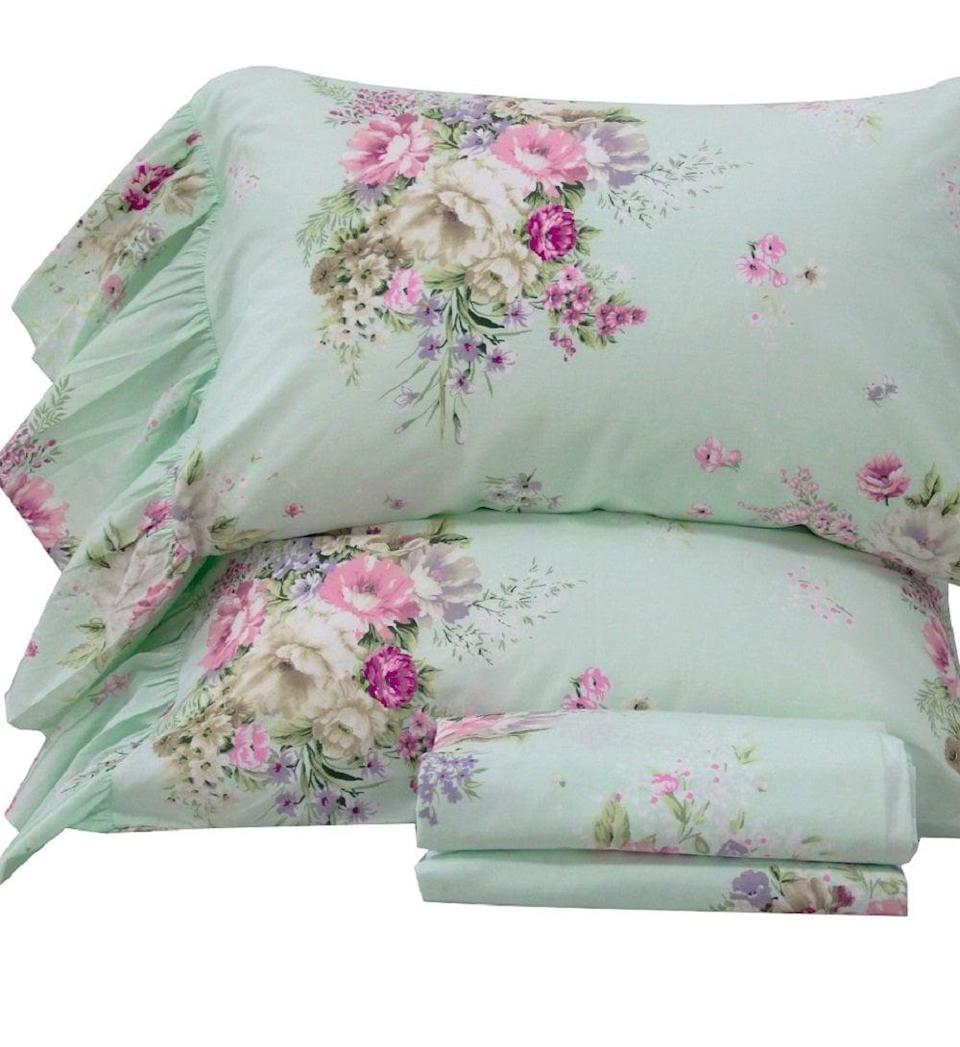 """<p>Sleep soundly in the cute <a href=""""https://www.popsugar.com/buy/Queen-House-4-Piece-Shabby-Green-Bed-Sheet-Sets-506774?p_name=Queen%27s%20House%204-Piece%20Shabby%20Green%20Bed%20Sheet%20Sets&retailer=amazon.com&pid=506774&evar1=casa%3Aus&evar9=46805816&evar98=https%3A%2F%2Fwww.popsugar.com%2Fphoto-gallery%2F46805816%2Fimage%2F46805823%2FThese-Elegant-Floral-Bedsheets&list1=shopping%2Camazon%2Cdecor%20inspiration%2Cshopping%20guide&prop13=api&pdata=1"""" class=""""link rapid-noclick-resp"""" rel=""""nofollow noopener"""" target=""""_blank"""" data-ylk=""""slk:Queen's House 4-Piece Shabby Green Bed Sheet Sets"""">Queen's House 4-Piece Shabby Green Bed Sheet Sets</a> (starts at $83).</p>"""
