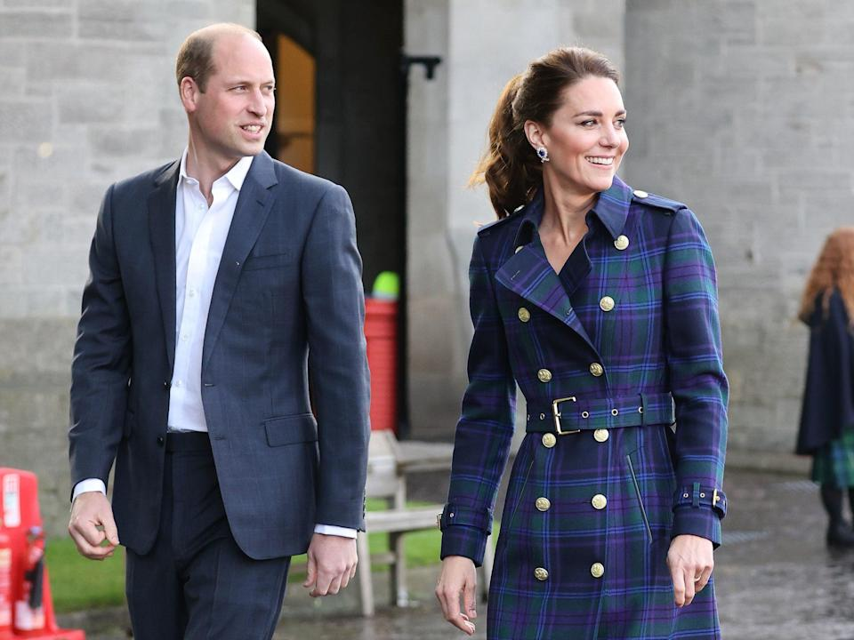 The Duke and Duchess of Cambridge at a drive-in cinema with NHS Charities Together at the Palace of Holyroodhouse, Edinburgh to watch a special screening of Disney's Cruella (PA)