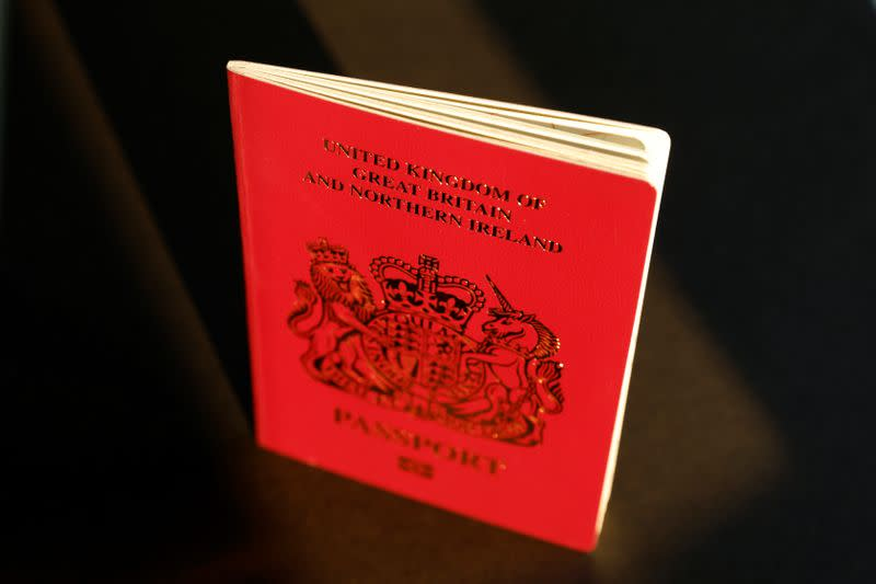 A British National Overseas passport is pictured in Hong Kong