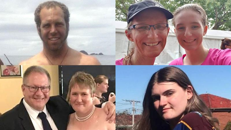 Clockwise from top left: Hayden Marshall-Inman, Julie Richards and her daughter (pic: Barbara Whitehead), Zoe Hosking, Gavin and Lisa Dallow