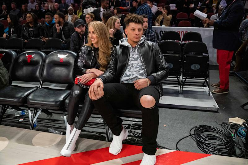 Kansas City's leading quarterback Patrick Mahomes (right) and girlfriend Brittany Matthews (left) during the United Nations NBA All Star Saturday Night.