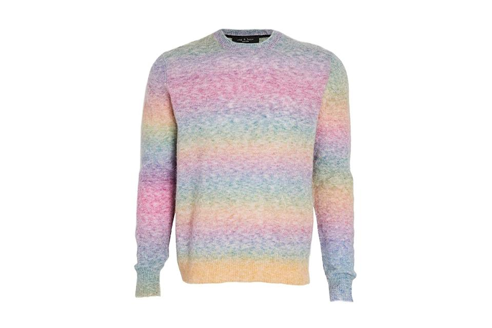 "$295, Amazon. <a href=""https://www.amazon.com/rag-bone-Rainbow-Sweater-X-Large/dp/B08FDYVS97/ref=sr_1_66?dchild=1&qid=1600445377&s=apparel&sr=1-66&th=1"" rel=""nofollow noopener"" target=""_blank"" data-ylk=""slk:Get it now!"" class=""link rapid-noclick-resp"">Get it now!</a>"