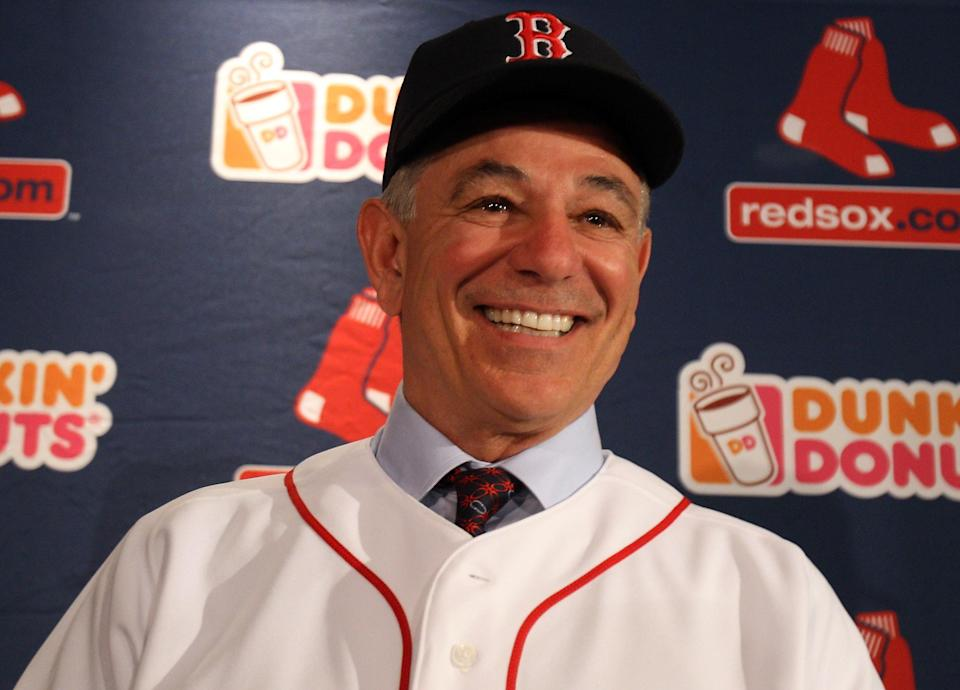 Bobby Valentine is introduced as the new manager for the Boston Red Sox during a press conference on December 1, 2011 at Fenway Park in Boston, Massachusetts. (Photo by Elsa/Getty Images)