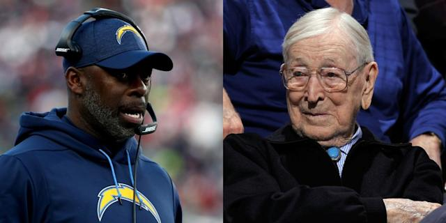 "Chargers coach Anthony Lynn and UCLA men's basketball coaching legend John Wooden. <span class=""copyright"">(Getty Images)</span>"