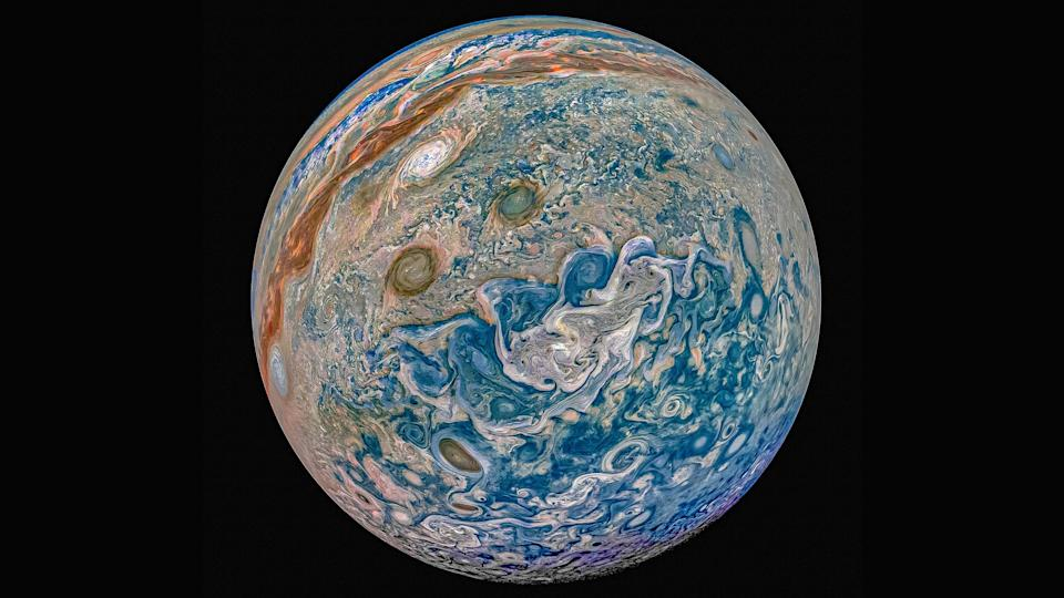 "Jupiter goes psychedelic in this new, full-disk image from NASA's Juno spacecraft. Citizen scientist Prateek Sarpal created this view of Jupiter using data that the orbiter's JunoCam instrument collected during its 22nd perijove, or close approach, on Sept. 12. Sarpal named this creation, ""A mind of limits, a camera of thoughts."""