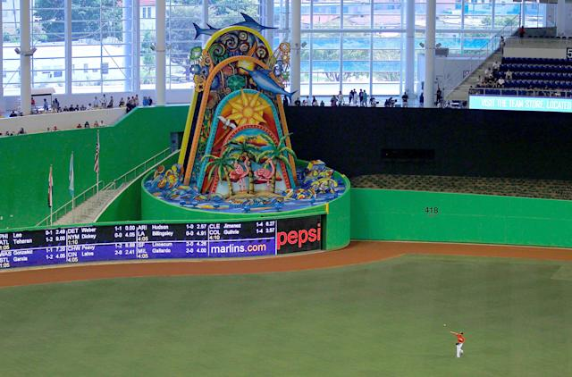 MIAMI, FL - APRIL 01: A general view of the new Miami Marlins Park during a preseason game against the New York Yankees during a game at Marlins Park on April 1, 2012 in Miami, Florida. A mechanical sculpture by Red Grooms will animate everytime a home run is hit yb a Marlin. (Photo by Mike Ehrmann/Getty Images)