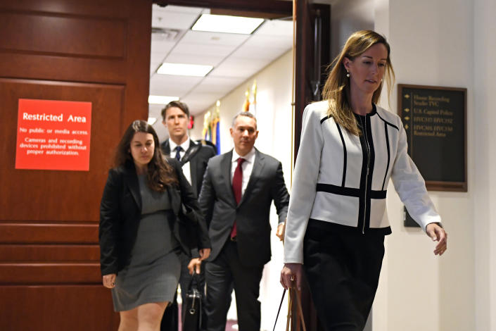 Jennifer Williams, a special adviser to Vice President Mike Pence for Europe and Russia who is a career foreign service officer, departs after a closed-door interview in the impeachment inquiry on President Donald Trump's efforts to press Ukraine to investigate his political rival, Joe Biden, at the Capitol in Washington, Thursday, Nov. 7, 2019. (AP Photo/Susan Walsh)