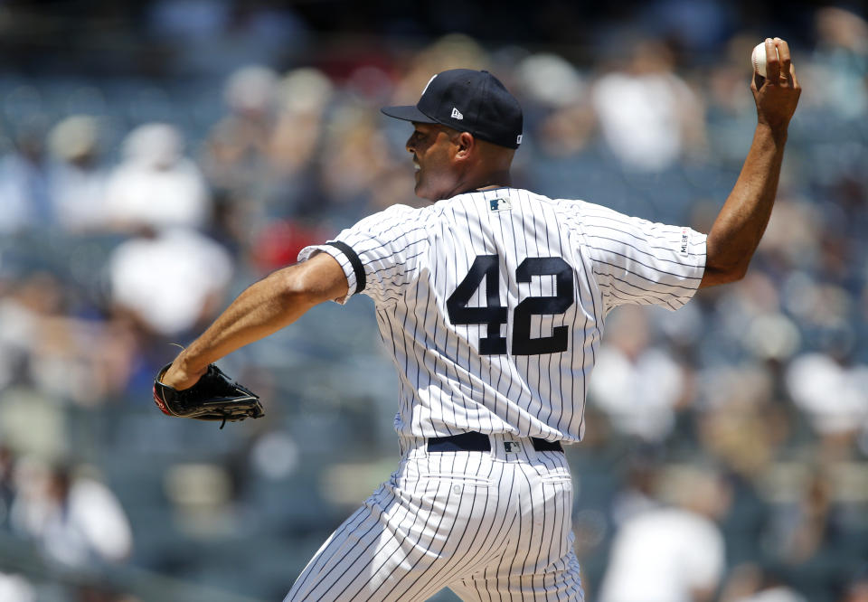 NEW YORK, NEW YORK - JUNE 23:   Former New York Yankee and 2019 Baseball Hall of Fame inductee Mariano Rivera participates during the teams Old Timers Day prior to a game between the Yankees and the Houston Astros  at Yankee Stadium on June 23, 2019 in New York City. (Photo by Jim McIsaac/Getty Images)