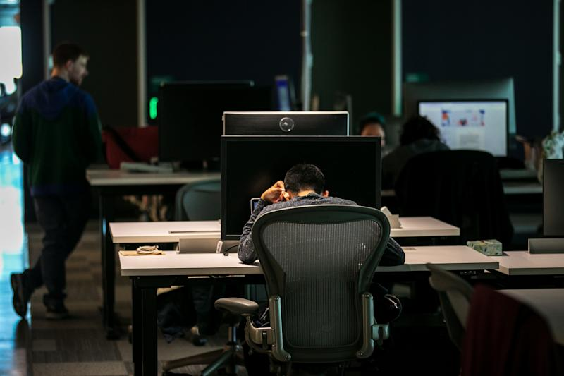 AUSTIN, TX - MARCH 5: Content moderators work at a Facebook office in Austin, Texas. (Photo by Ilana Panich-Linsman for The Washington Post via Getty Images)