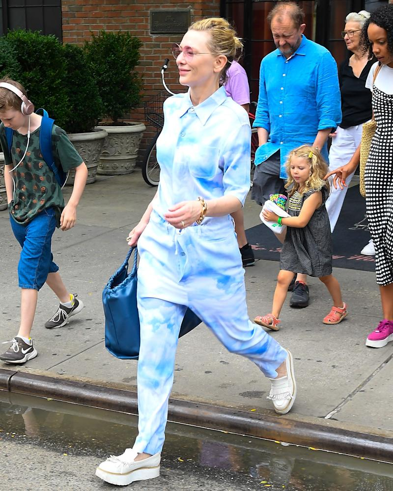 TO DYE FOR: Cate Blanchett looks every inch the psychedelic supermom in her vibed-up ensemble.