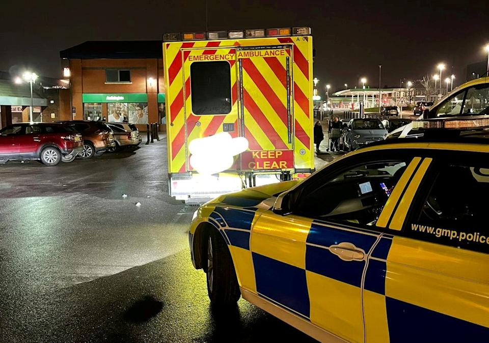 The disqualified motorist is being questioned by police after allegedly going to Asda for a food shop inside a second-hand ambulance. (GMP/SWNS)