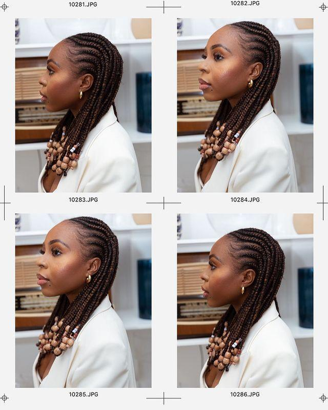 """<p>We love these Fulani braids! The size of the cornrow isn't super-small either so if you want to recreate it they won't take hours on hours to achieve.</p><p><a href=""""https://www.instagram.com/p/CDMV7LyjEjz/"""" rel=""""nofollow noopener"""" target=""""_blank"""" data-ylk=""""slk:See the original post on Instagram"""" class=""""link rapid-noclick-resp"""">See the original post on Instagram</a></p>"""