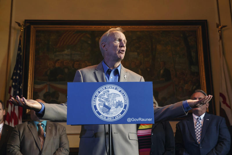 FILE - In this July 26, 2017 file photo, Illinois Gov. Bruce Rauner speaks during a news conference at the state Capitol, Wednesday, July 26, 2017, in Springfield, Ill. Still struggling with budget problems and faced with new demands for cash, the Illinois General Assembly returns Tuesday for the first week of its fall session. Lawmakers will deal with re-establishing the Medicaid program for hospitals and could take up vetoes by Gov. Bruce Rauner on workers' compensation and minimum wage in addition to trying to ensure budget ends meet. (Justin Fowler/The State Journal-Register via AP File)