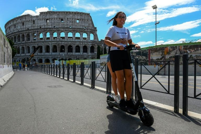 Electronic scooters are all the rage in Rome after lockdown, especially with the young (AFP Photo/Vincenzo PINTO)
