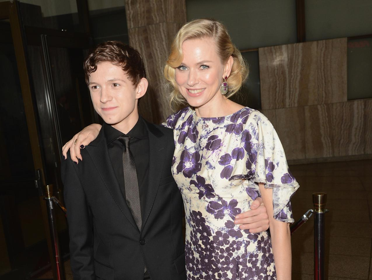 """HOLLYWOOD, CA - DECEMBER 10:  Actor Tom Holland (L) and Naomi Watts attend the Los Angeles premiere of Summit Entertainment's """"The Impossible"""" at ArcLight Cinemas Cinerama Dome on December 10, 2012 in Hollywood, California.  (Photo by Jason Merritt/Getty Images)"""