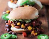 """<p>This bean- and veggie-packed filling is easy to make and fun to eat. Serve 1/6 of the recipe on an <a href=""""http://www.foodforlife.com/product/buns/ezekiel-49-sprouted-whole-grain-burger-buns?mbid=synd_yahoofood"""" rel=""""nofollow noopener"""" target=""""_blank"""" data-ylk=""""slk:Ezekiel sprouted-grain burger bun"""" class=""""link rapid-noclick-resp"""">Ezekiel sprouted-grain burger bun</a> and you'll get 18 grams of protein and just under 400 calories.</p><p><b>Per one serving (with the bun):</b> <em>366 calories, 18 g protein</em></p>"""