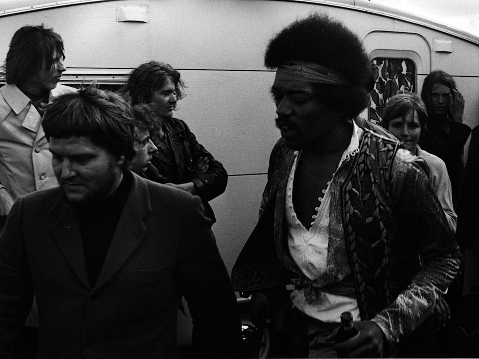 <p>Jimi Hendrix backstage at the Love And Peace Festival on the Isle of Fehmarn, his final official concert appearance, on September 6, 1970 in Germany.</p>