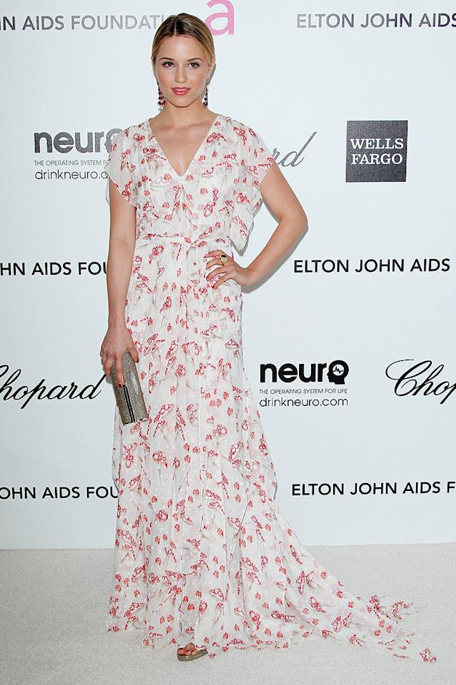 """Glee's"" Dianna Agron opted for a beachy, sun-kissed look for the Elton party, and it suited her well."