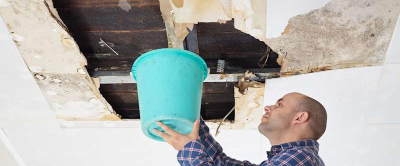 ceiling water damage bucket fixing leak