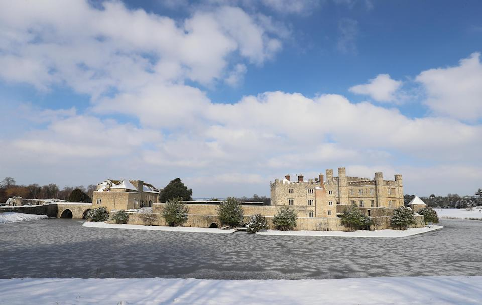 Leeds Castle in Kent, where the moat has frozen over, as the cold snap continues to grip much of the nation. Picture date: Thursday February 11, 2021. (Photo by Gareth Fuller/PA Images via Getty Images)