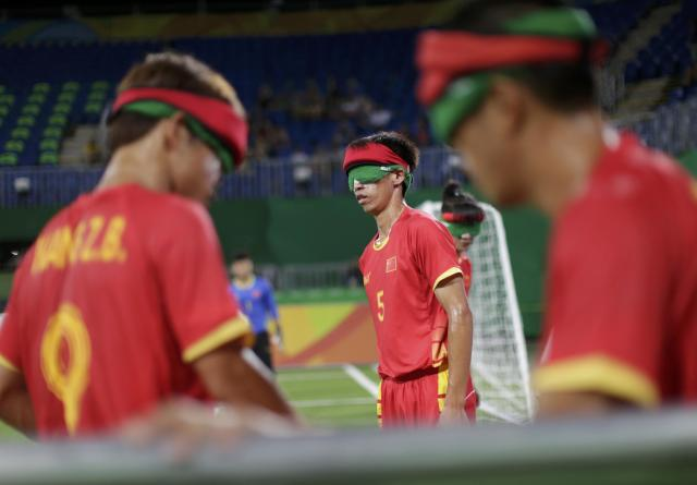 2016 Rio Paralympics - Football Soccer - Men's 5-a-side Preliminaries Pool B - China v Mexico - Olympic Tennis Centre - Rio de Janeiro, Brazil - 11/09/2016. Gao Kai (CHN) of China before match. REUTERS/Ueslei Marcelino FOR EDITORIAL USE ONLY, NOT FOR SALE FOR MARKETING OR ADVERTISING CAMPAIGNS.