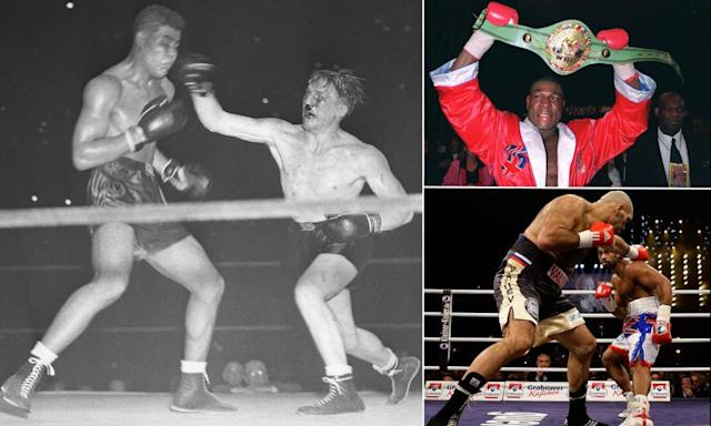 "<span class=""element-image__caption"">Tommy Farr lands a right on Joe Louis during their title fight in September 1937, Frank Bruno shows off his WBC heavyweight title belt in September 1995 and David Haye evades a punch from Russia's Nikolai Valuev during their title fight which Haye took on points in 2009.</span> <span class=""element-image__credit"">Composite: Bettmann/Getty Images; Action Images; Kai Pfaffenbach/Reuters</span>"