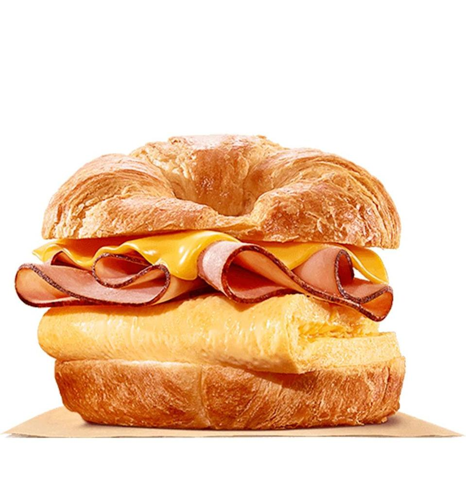 burger king ham, egg and cheese croissanwich
