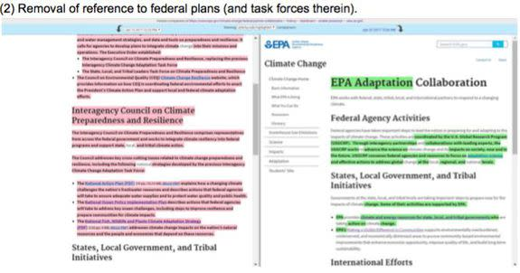 EPA website comparison, with changes highlighted. New page is on the right.