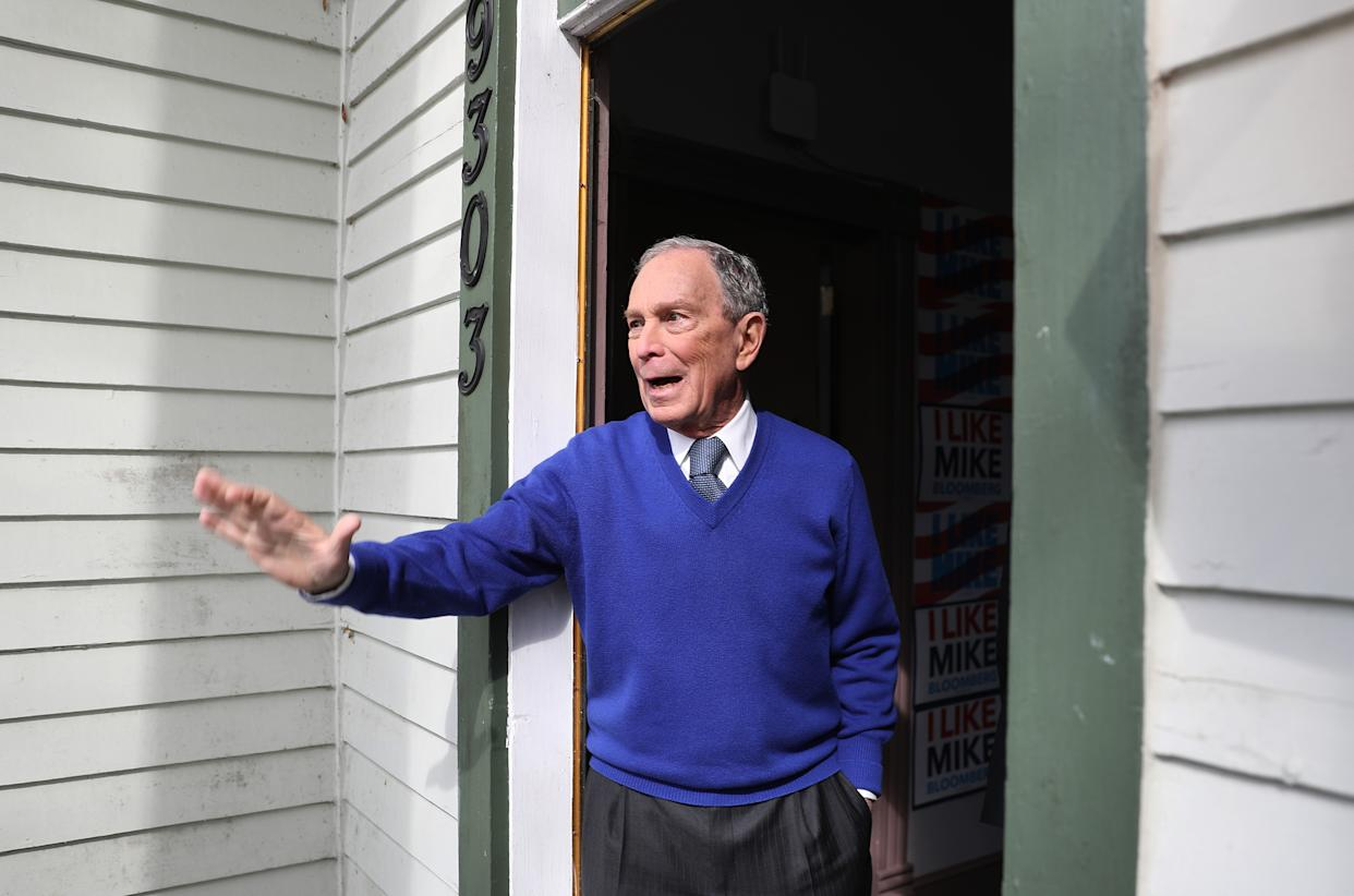 Mike Bloomberg waves to supporters during a stop at one of his campaign offices on March 2, 2020 in Manassas, Virginia. (Joe Raedle/Getty Images)
