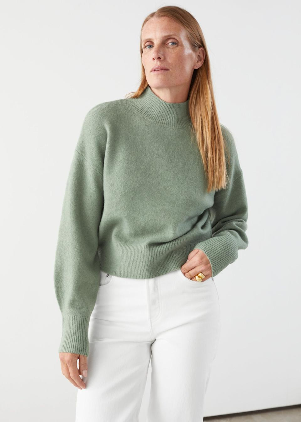 "<a href=""https://fave.co/33UAl2S"" target=""_blank"" rel=""noopener noreferrer"">This mock neck sweater</a> is available in sizes XS to L in 13 colors. Find it for $49 on <a href=""https://fave.co/33UAl2S"" target=""_blank"" rel=""noopener noreferrer"">& Other Stores</a>."
