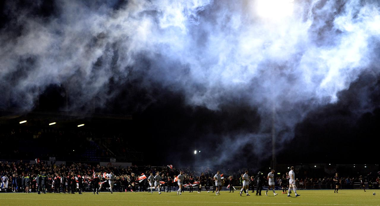 Rugby Union - European Champions Cup - Saracens vs Ospreys - Allianz Park, London, Britain - October 21, 2017  General view of smoke from fireworks as players enter the pitch  Action Images via Reuters/Adam Holt