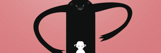 Vector drawing of a sad, depressed girl surrounded by one monster.