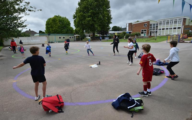 Children should be kept apart outside and playground equipment should be cleaned frequently - PA
