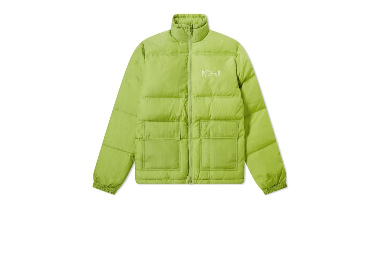 """This puffy-but-not-too-puffy jacket from Polar will hold you over until it's time to bust out the real deal. —Tyler Watamanuk $255, End Clothing. <a href=""""https://www.endclothing.com/us/polar-skate-co-pocket-puffer-pol-pcktpffr-prgn.html"""">Get it now!</a>"""
