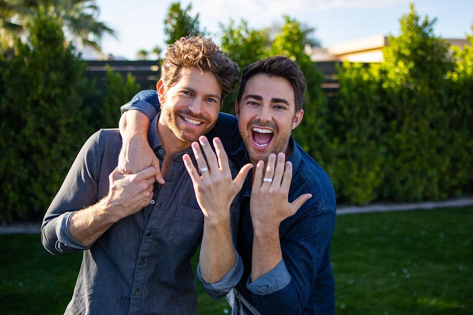 Vaughan (left) wrote an original song to propose to Bennett, and planned the engagement under the pretense of a holiday greeting card photo shoot. (Photo: Andrew Herner )