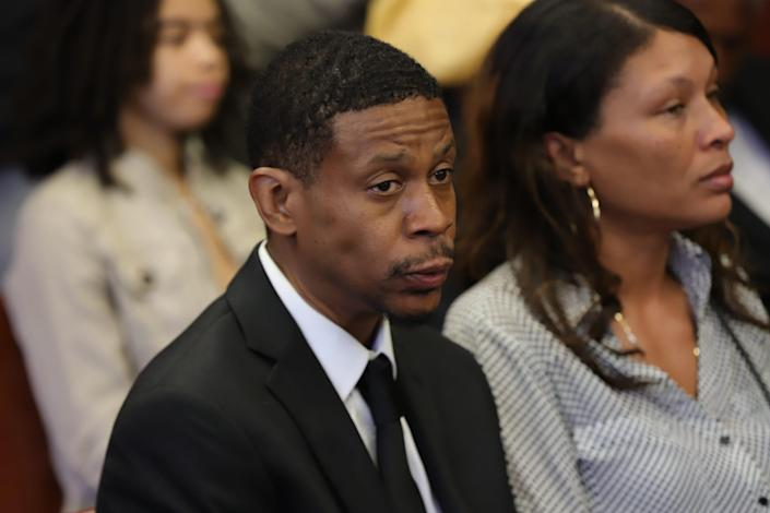 Kecalf Franklin, youngest son of Aretha Franklin, attends the probate hearing for his mother's estate concerning a found written will at Oakland County courthouse in Pontiac, Mich. on Tuesday, Aug. 6, 2019.