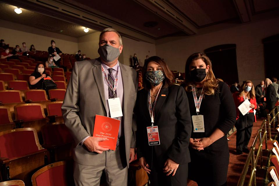 From left, Gannett CEO Mike Reed, USA TODAY Network President Maribel Wadsworth and USA TODAY Editor in Chief Nicole Carroll attend the vice presidential debate between Sen. Kamala Harris and Vice President Mike Pence on Oct. 7, 2020 in Salt Lake City, Utah.