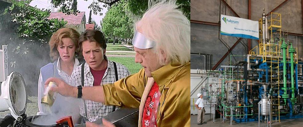 "<p>In the fictional 2015, Doc Brown powers his time-traveling DeLorean by way of a Mr. Fusion Home Energy Reactor, which converts household garbage directly into energy. Specifically, the device provides the 1.21 gigawatts needed to travel through the time-space continuum. Neat trick, that. </p><p>Does such a device exist in the real 2015? Not precisely, although there is an <a href=""http://www.greenfacts.org/en/biofuels/l-2/1-definition.htm"">entire biofuel industry</a> dedicated to the underlying concept. Earlier this year, an outfit called <a href=""http://fulcrum-bioenergy.com/"">Fulcrum BioEnergy</a> announced plans for a factory that will turn household garbage into jet fuel and diesel gasoline.</p>"