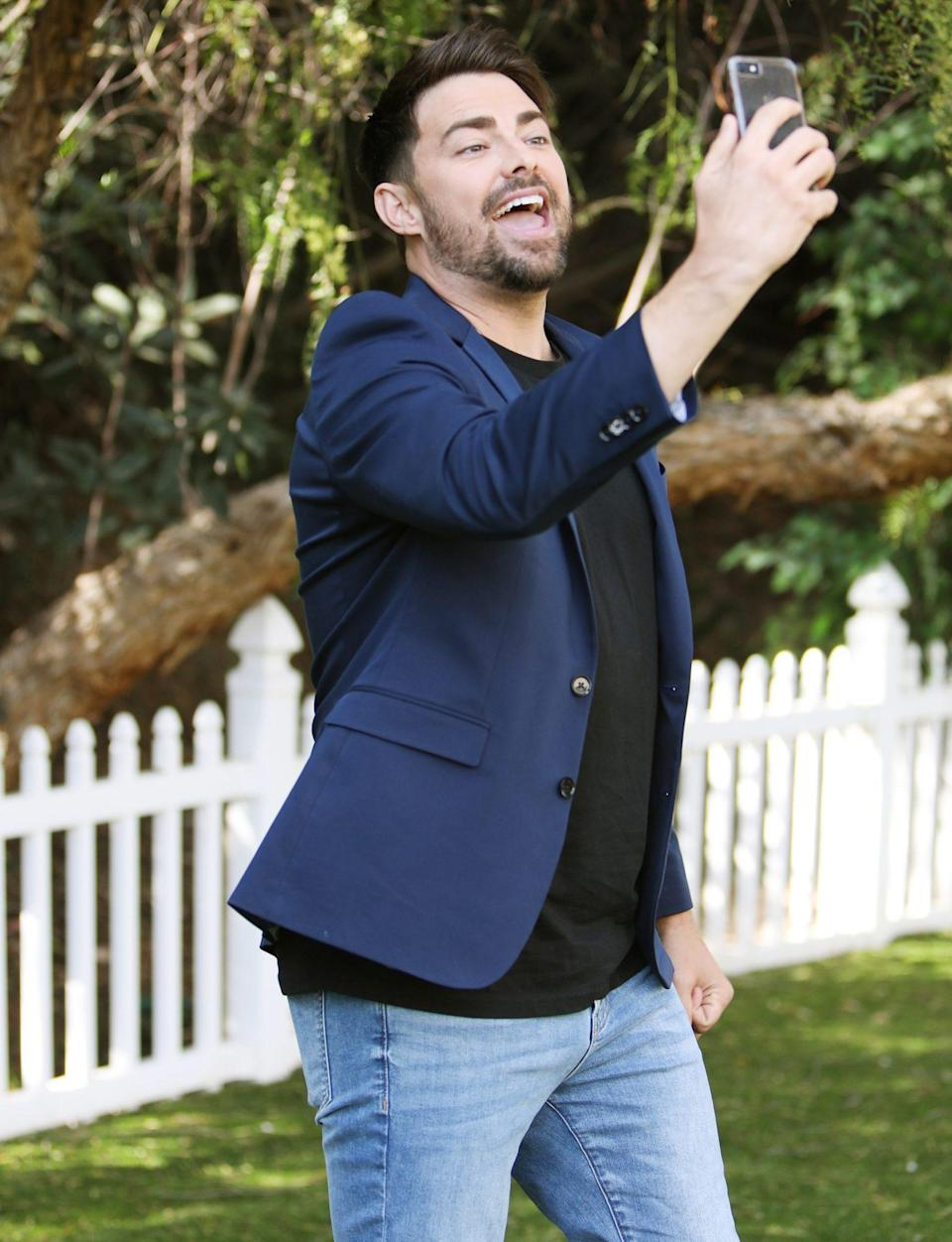 <p>Jonathan Bennett visits the set of the Hallmark Channel's<em> Home & Family</em> on Tuesday at Universal Studios Hollywood in Universal City.</p>
