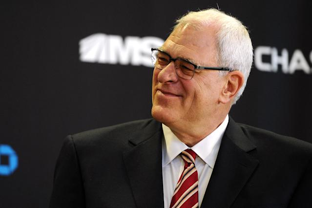NEW YORK, NY - MARCH 18: Phil Jackson looks on during his introductory press conference as President of the New York Knicks at Madison Square Garden on March 18, 2014 in New York City. (Photo by Maddie Meyer/Getty Images)