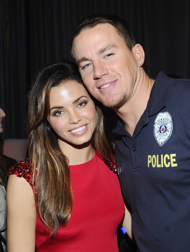 "AUSTIN, TX - MARCH 12:  Actress Jenna Dewan-Tatum (L) and actor Channing Tatum attend ""21 Jump Street"" After Party during the 2012 SXSW Music, Film + Interactive Festival at Paramount Theatre on March 12, 2012 in Austin, Texas.  (Photo by Michael Buckner/Getty Images for SXSW)"