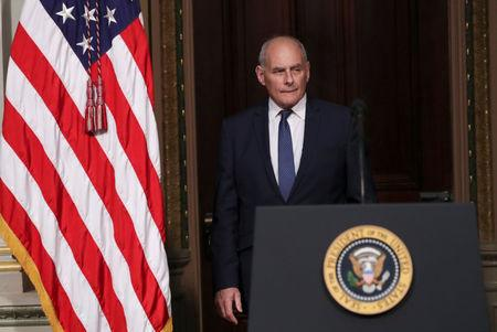 White House Chief of Staff Kelly arrives at Interagency Task Force to Monitor and Combat Trafficking in Persons annual meeting at the White House in Washington