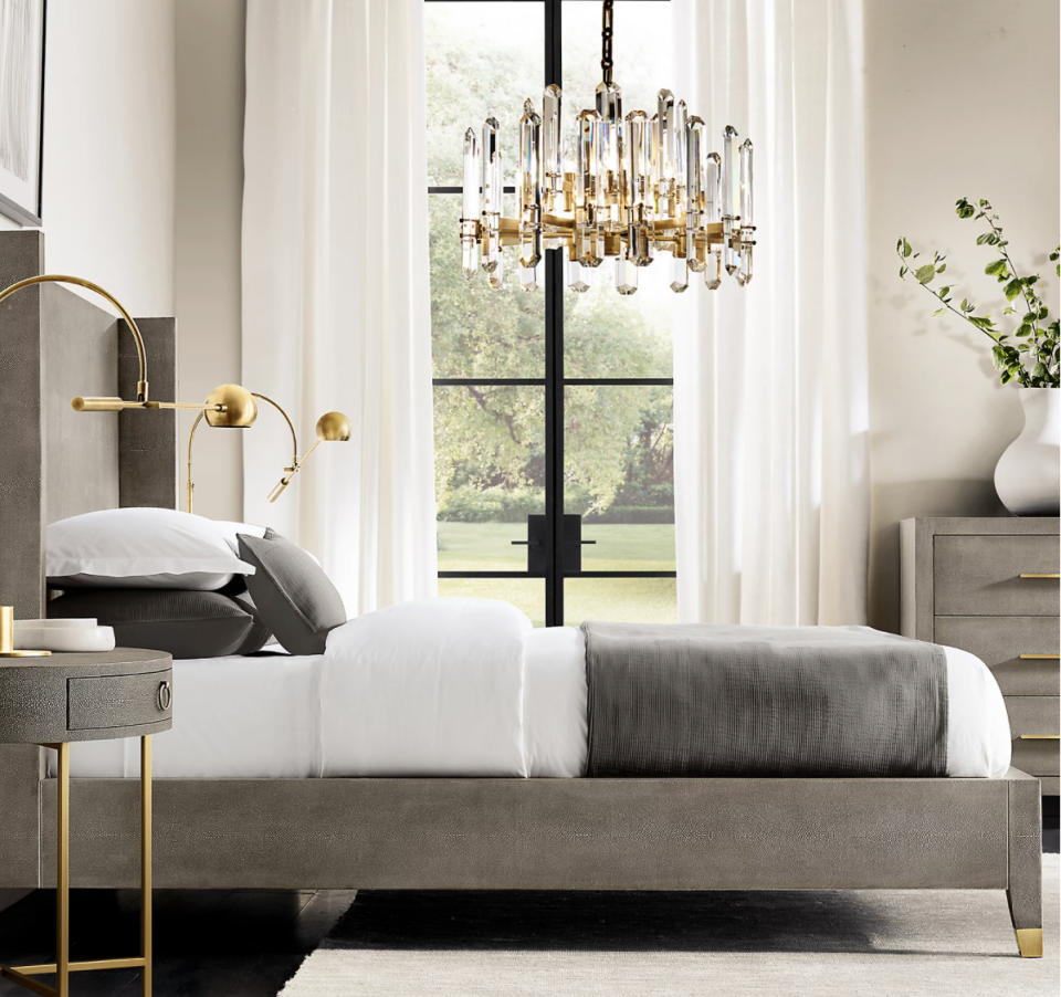 """<p>Another widely known brand, Restoration Hardware has stood the test of time and continues to be one of the most trusted purveyors of home goods. Through the decades, they continue to bring the same quality to ever-modern styles, like the <a href=""""https://rh.com/catalog/product/product.jsp?productId=prod9300314&sale=false"""" rel=""""nofollow noopener"""" target=""""_blank"""" data-ylk=""""slk:Graydon Shagreen Shelter Bed"""" class=""""link rapid-noclick-resp"""">Graydon Shagreen Shelter Bed</a>. </p><p><a class=""""link rapid-noclick-resp"""" href=""""https://rh.com/"""" rel=""""nofollow noopener"""" target=""""_blank"""" data-ylk=""""slk:Shop"""">Shop</a> </p>"""