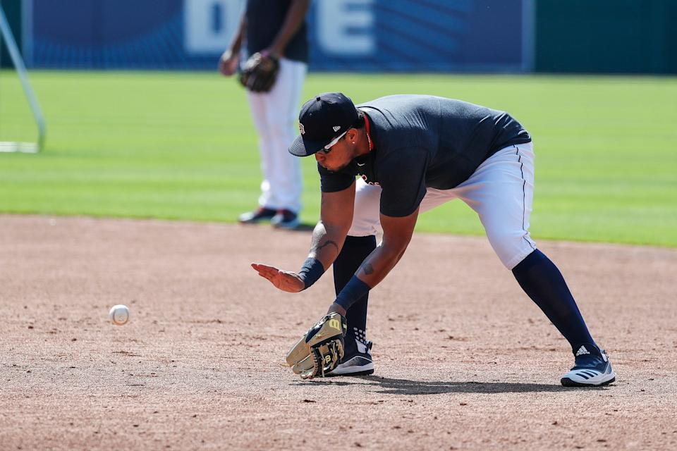 Detroit Tigers' Miguel Cabrera practices at first base during summer camp at Comerica Park in Detroit, Tuesday, July 7, 2020.