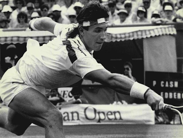"""<span class=""""element-image__caption"""">Pat Cash reaches for a ball against Stefan Edberg in the 1987 Australian Open final at Kooyong.</span> <span class=""""element-image__credit"""">Photograph: Fairfax Media Archives/Getty Images</span>"""